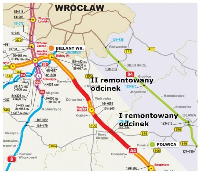 Remont na A4 pomiędzy węzłem Brzezimierz, a PPO Karwiany
